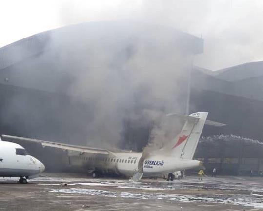 Aircraft Goes Up In Flames At Lagos Airport (Video)