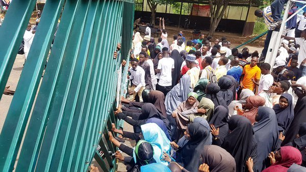 Members of the Islamic Movement of Nigeria on Wednesday stormed the National Assembly, Abuja, demanding the release of their leader, Ibrahim El-Zakyzaky, the Shi'ite members forcibly entered the NASS complex after overwhelming the security operatives at the gate.