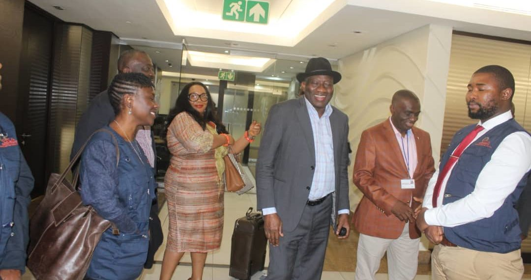 Former President Goodluck Jonathan currently in South Africa, where he will lead an observer mission to monitor the country's general election scheduled for May 8.