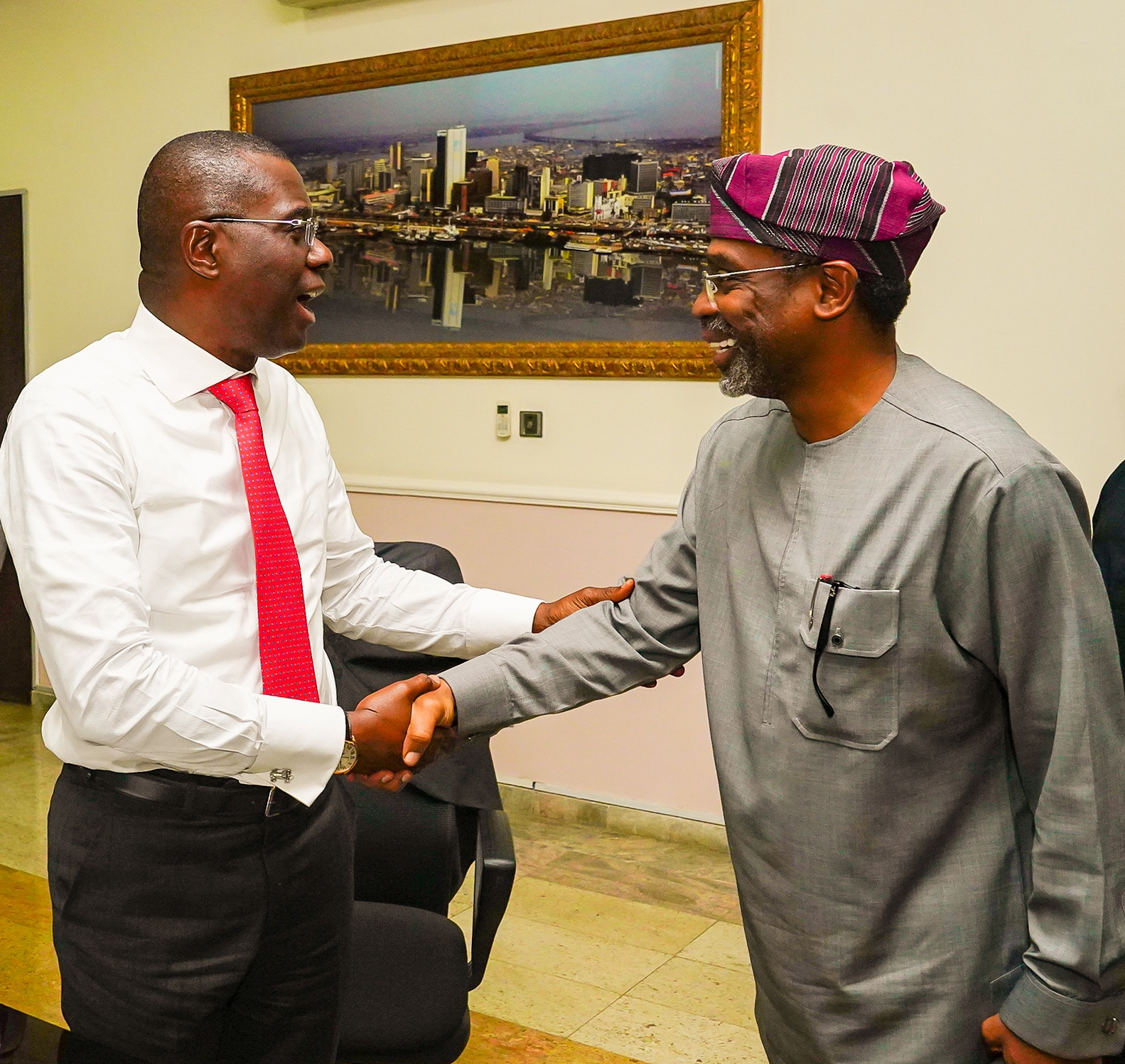 The Lagos State Governor Babajide Sanwo-Olu has received the speaker, House of Representatives, Rt. Hon. Femi Gbajabiamila at the state house Abuja.