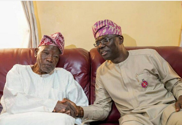 The Executive Governor of Lagos State, Mr. Babajide Sanwo-Olu congratulates Alhaji Lateef Jakande, first elected Governor of Lagos State who clocks 90 years today, 23rd July 2019.